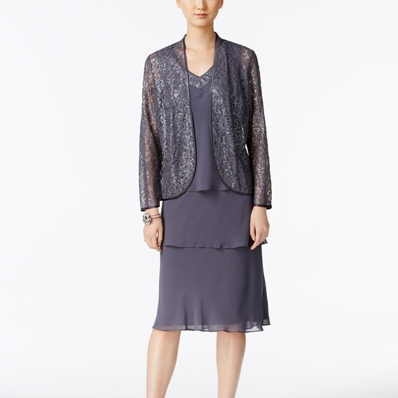 Sl fashions lace beaded jacket dress